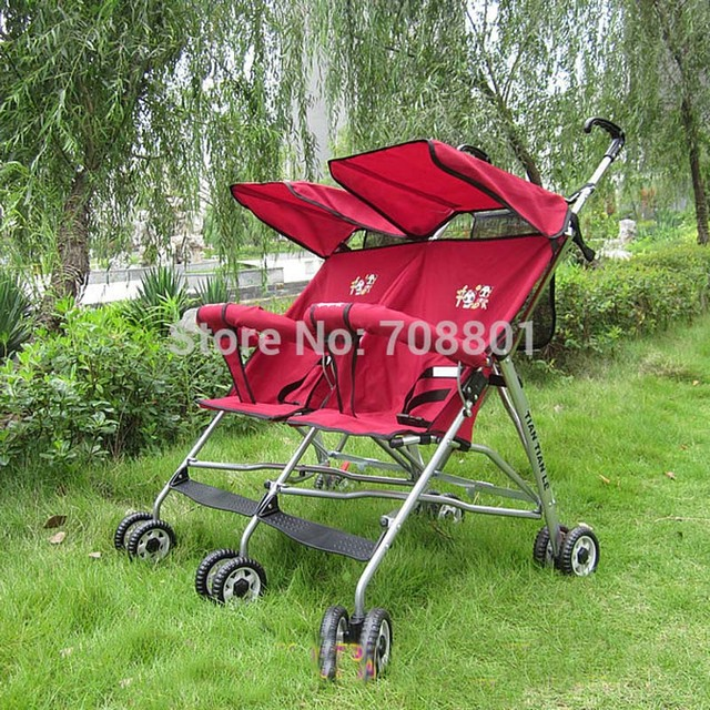 Ultra Light Folda Assento Duplo Bebê Carrinho De Bebê, Gêmeos Carrinho De Criança para o verão uso, 6 Roda Guarda-chuva
