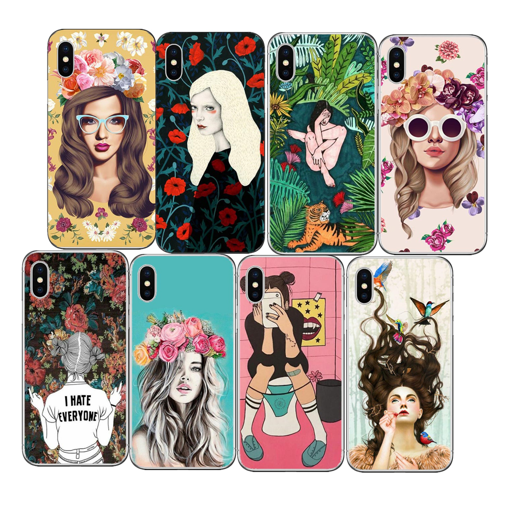 Beautiful flowers Phone Case For Apple iPhone 7 6 6s 5 5s SE Plus Sexy girl Hard PC Cases Back Cover Capa For iPhone7Plus