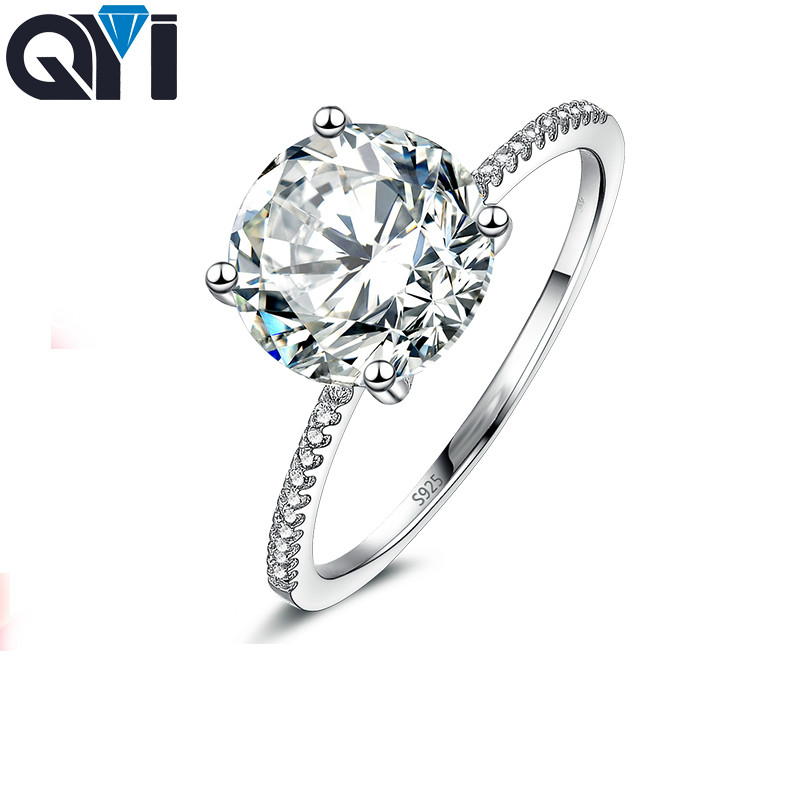 QYI Size 456789 Rings Wedding Rings Round Cut 3 Carat Fashion Style 925 Sterling Silver Engagement Band Gift Jewelry For Women