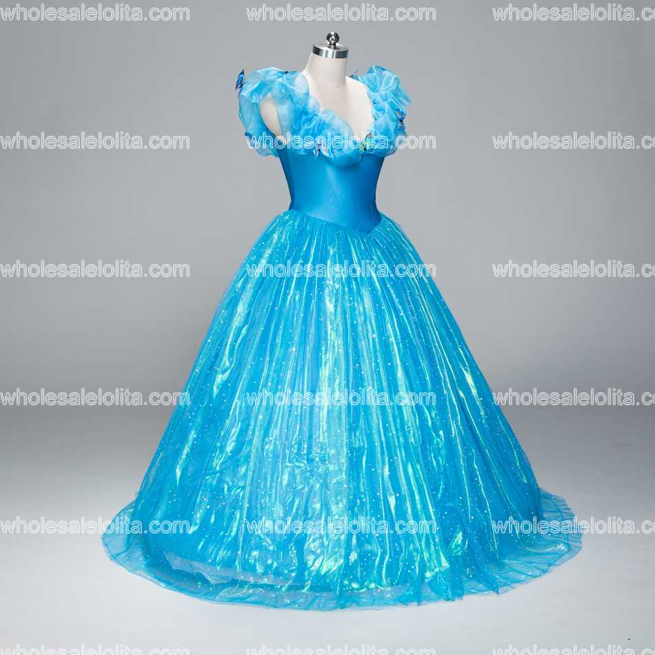 New Cinderella Movie Version Deluxe Prom Dress Halloween Cosplay ...