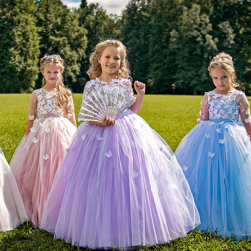 New Coming Flower Girl Dress For Special Occasion with Handmade Butterflies Pearls Back Half Sleeves Custom Made Pageant GownsNew Coming Flower Girl Dress For Special Occasion with Handmade Butterflies Pearls Back Half Sleeves Custom Made Pageant Gowns