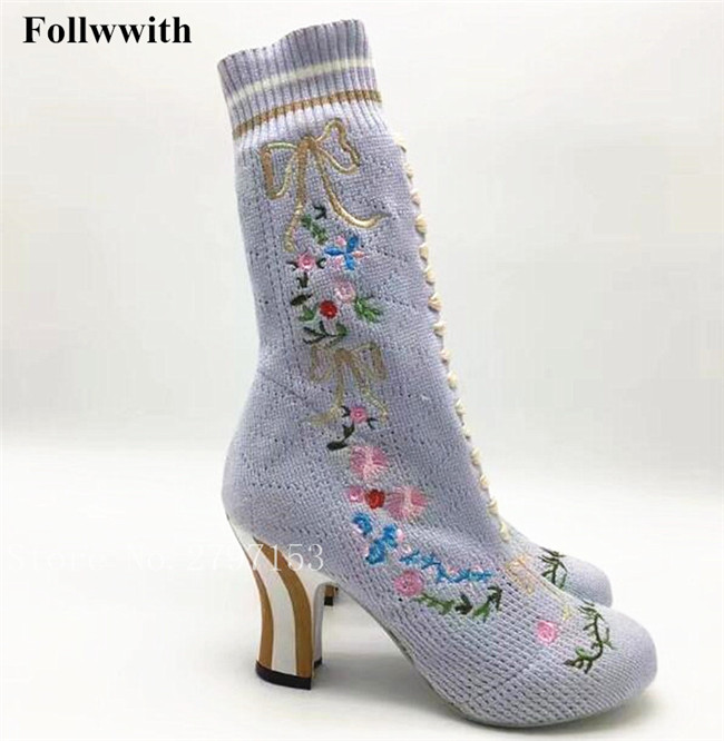 Flower Embroidered Stretch-Knit Ankle Boots Round Toe Slip On Manmade Fashion Spikes Heels Spring/Autumn Women Boot Shoes Woman fonirra women stretch knit ankle boots fabric shoes striped heel socks boots round toe women slip on high heels female boots 682