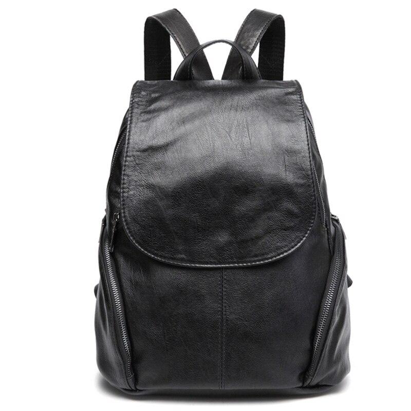 Backpack Women Sheep Leather Backpack Bookbags Travel Backpack Anti Theft Backpacks Mochila Feminina Solid Softback