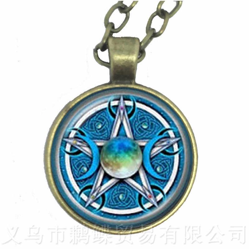 Зеленый фон Тройная Лунная богиня Wicca Pentagram Magic амулет-талисман мужской кулон с полумесяцем тибетские Винтажные Украшения