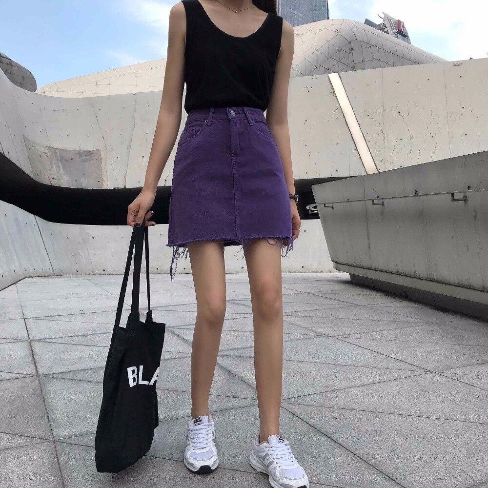 1d8c90beac England Style Purple Denim Skirts Womens 2018 Summer High Waist Pockets jeans  Skirt Fashion Plus Size Sexy Mini Skirt faldas-in Skirts from Women's  Clothing ...