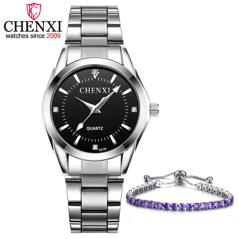 2PCS/Set Contain Women Quartz Watches And Fashion Jewelry Bracelets CHENXI Fashion Casual Wristwatches Ladies Luxury Brand Clock
