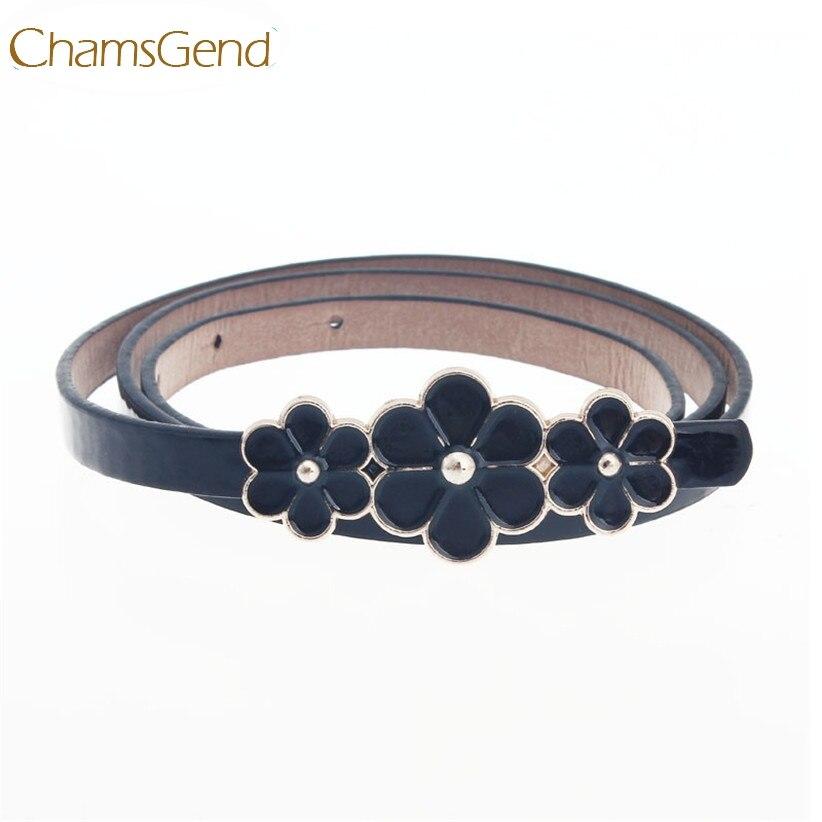 Chamsgend Newly Design Metal Flowers PU Leather   Belt   Women Waist Band Fashion Nice Gift Yellow Blue Pink Red Black July10