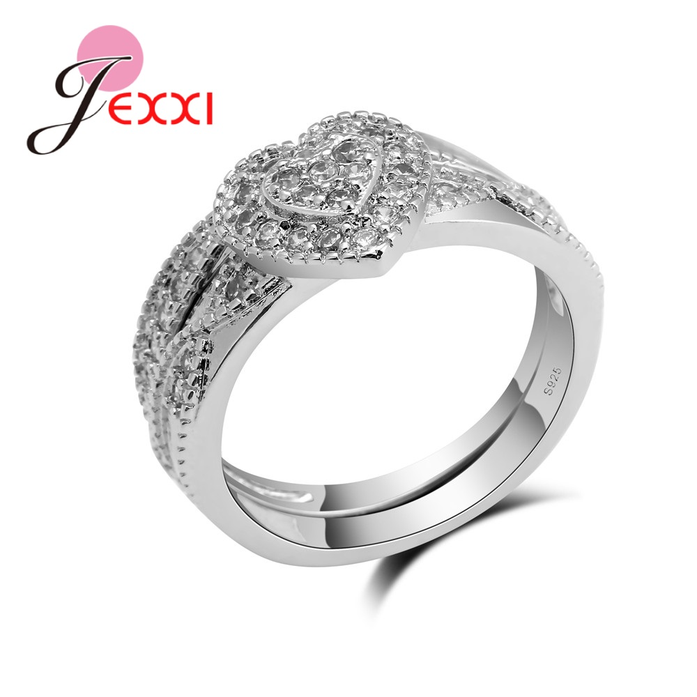 JEXXI Heart Shaped Silver Rings For Girl Lady S90 Silver Rings For Women With Small Stones Wedding Rings Engagement