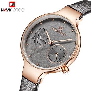 8ac053b43542f NAVIFORCE Kadın Saatler En Lüks Marka Bayanlar kuvars saatler Hakiki Deri  Kordonlu Saat Rahat Bilek Saatler Hediye Için Kız