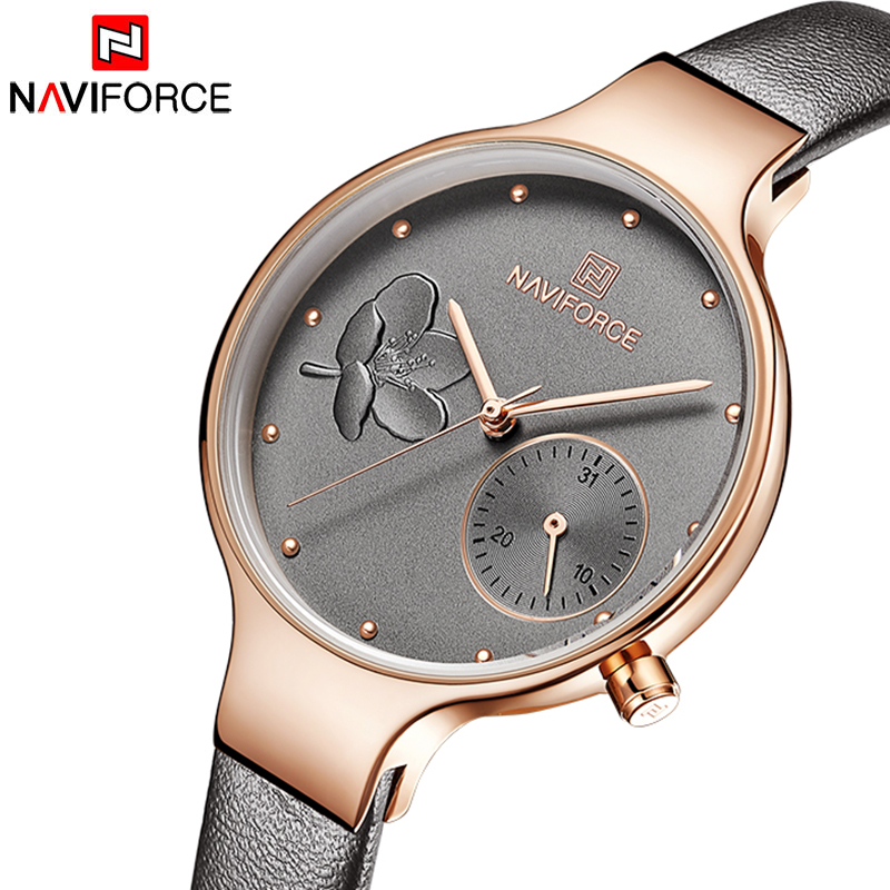 NAVIFORCE Woman Watches Fashion Lady Quartz Watches Genuine Leather Watchband 24 Hour Date Casual Wristwatches Gift For Girl