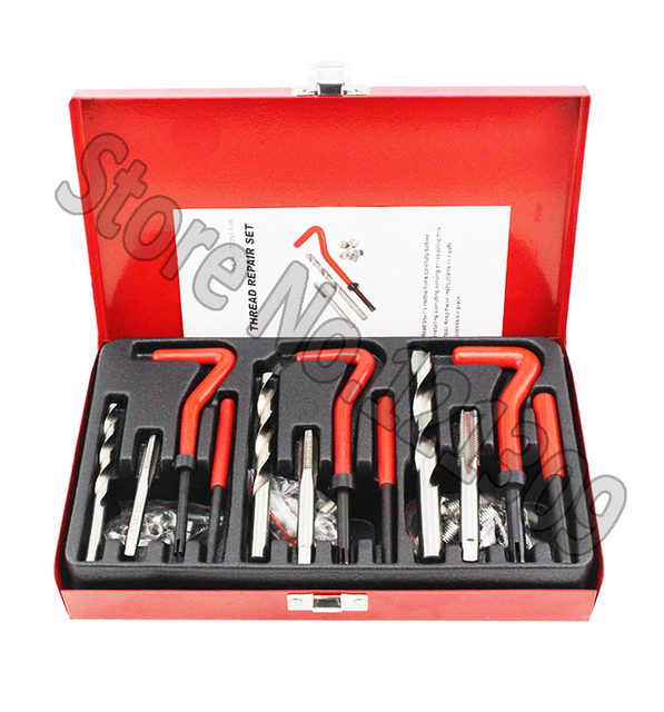 88Pc Thread Repair Kit Set Rethread M6 M8 M10 Damaged Thread Garage Tool