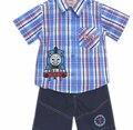 4 sets/lot.2-5 Ano Novo Chegada Criança Thomas o Trem 2 PCS Suit, meninos Camisa de Manga Curta + Shorts, Conjunto de Roupas infantis