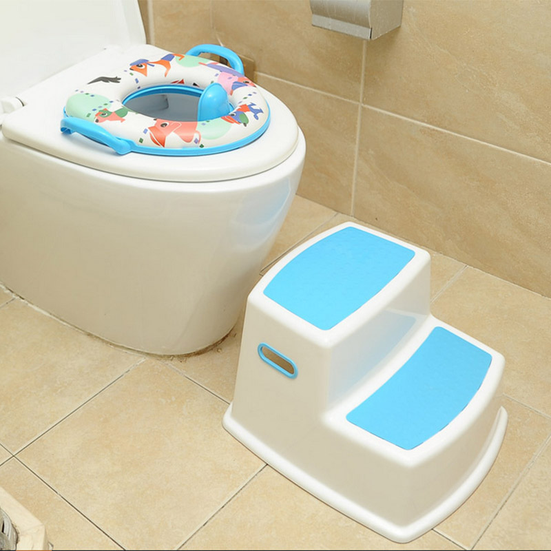 2 Step Stool For Kids Toddler Stool For Toilet Potty Training Slip Bathroom Kitchen LAD-sale