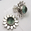 Solid Silver Exclusive CABOCHON APATITE FLOWER Studs Posts Earrings 1.5 CM