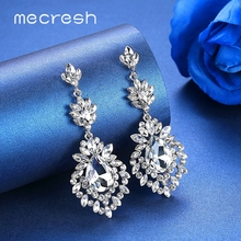 Mecresh Silver Gold Color Wedding Drop Earrings for Women Summer Statement Crystal Teardrop Bridal Dangle 2019 MEH1102