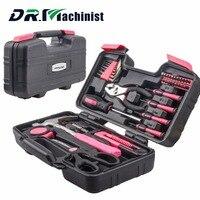 DR. Machinist 39 pcs Rosa Mulheres Hand Tool Set Kit de Ferramentas de Reparo Doméstico Geral De Armazenamento Caso Martelo Alicate Chave De Fenda acessórios