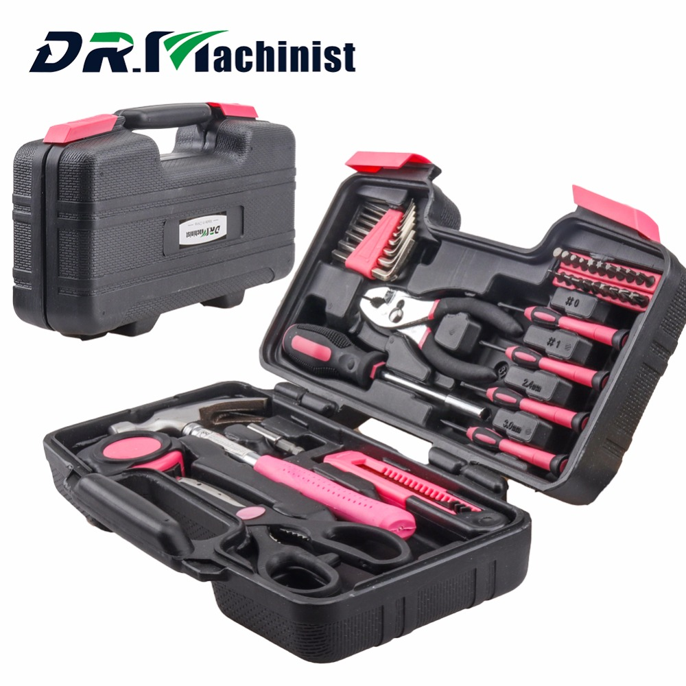 DR.Machinist 39pcs Pink Women Hand Tool Set General Household Repair Tools Kit Storage Case Hammer Plier Screwdriver Accessories