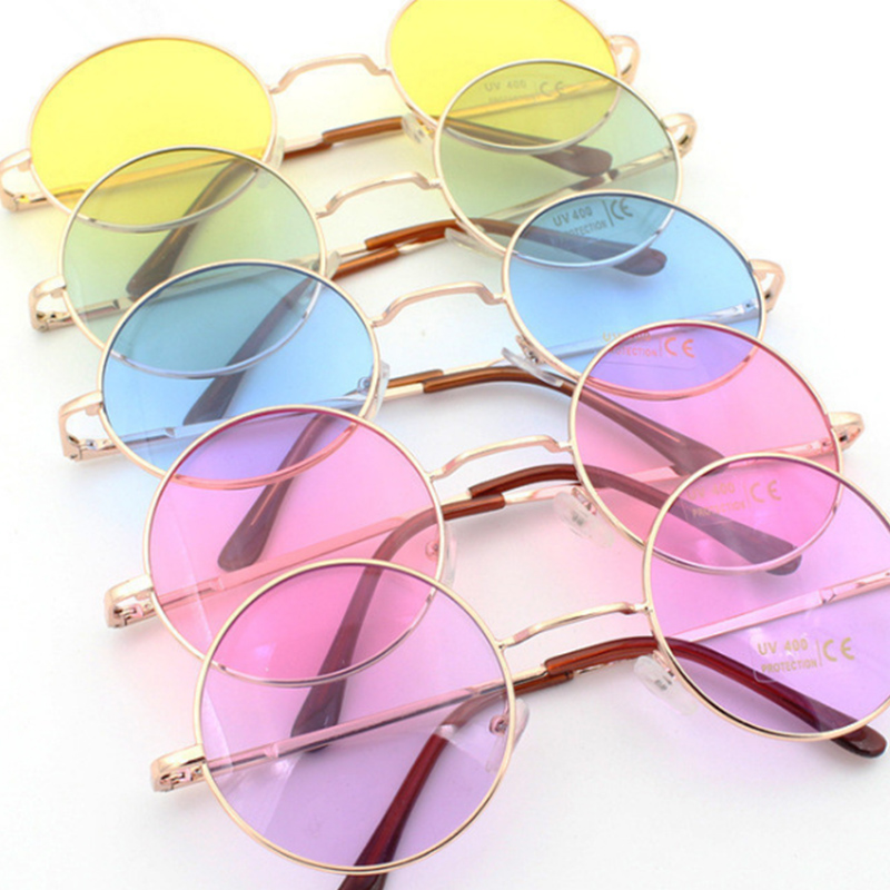 Retro hippie Metal Lennon round sunglasses women Metal frame circle round tinted lens sunglasses Super hippie chic style