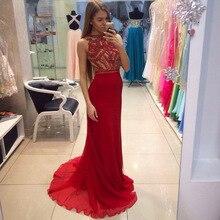 Red Rhinestone Long Chiffon Evening Prom Dress 2017 Beaded Top Vestidos De Festa Longo Formal Party Gowns EG61