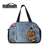 Dispalang Butterfly Denim Print Hand Luggage Travel Duffle Bags Tote Large Capacity Travel Bags Men Women Travel Handbags