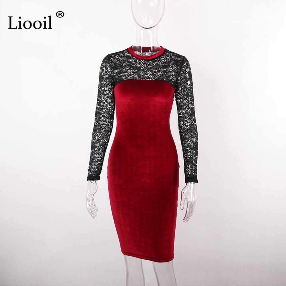a2c63fe7e7 ... Liooil Sexy Lace Velvet Christmas Dress Women New 2019 Spring Casual  Womens Clothing Red Green Black