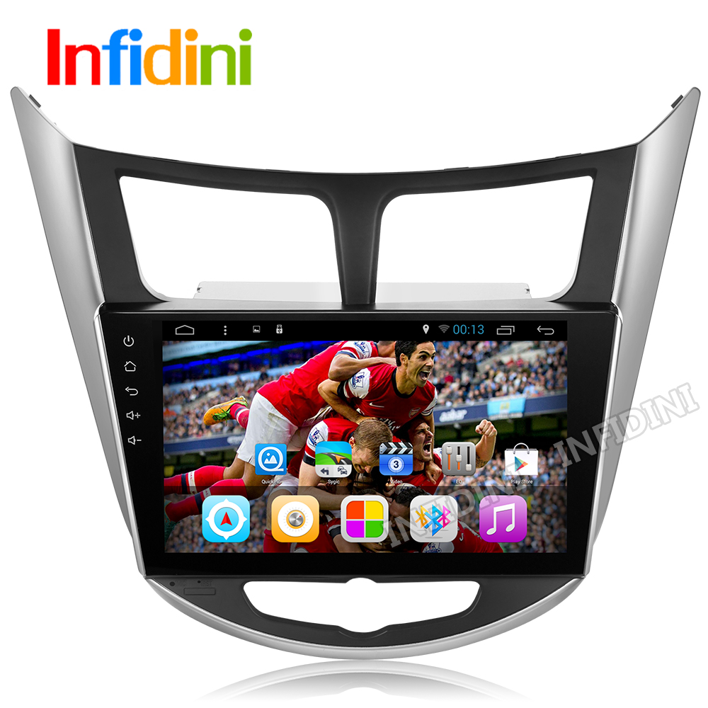 1024*600 quad core pure android 4.4 Car dvd gps player for Hyundai Solaris Verna car headunit car radio video player navigation