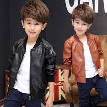 a90b85468 Hot Spring Autumn Color Solid Leather Jacket Boy Autumn Clothing Big Boy  Coat 4-12 Ages Brown Black Color Free Shipping