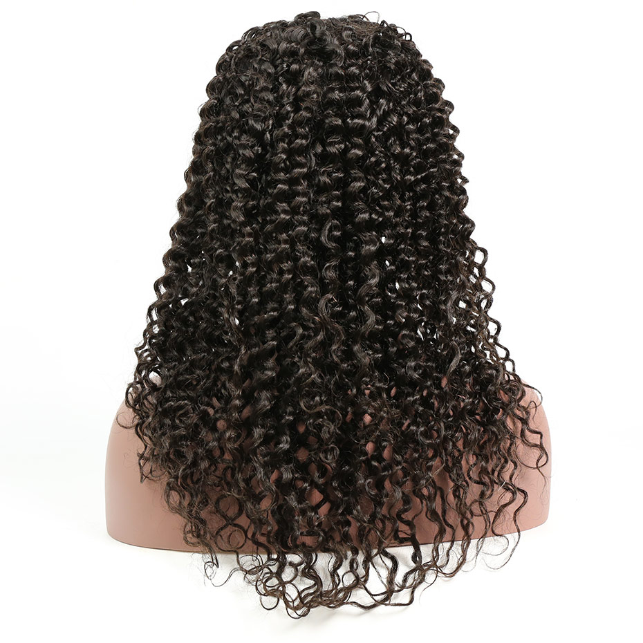 Liweike Brazilian 2*4 Size Deep Curly U Part Wig Remy Human Hair Lace Front Best Match Glueless Wigs Full Ends Natural 1B Color
