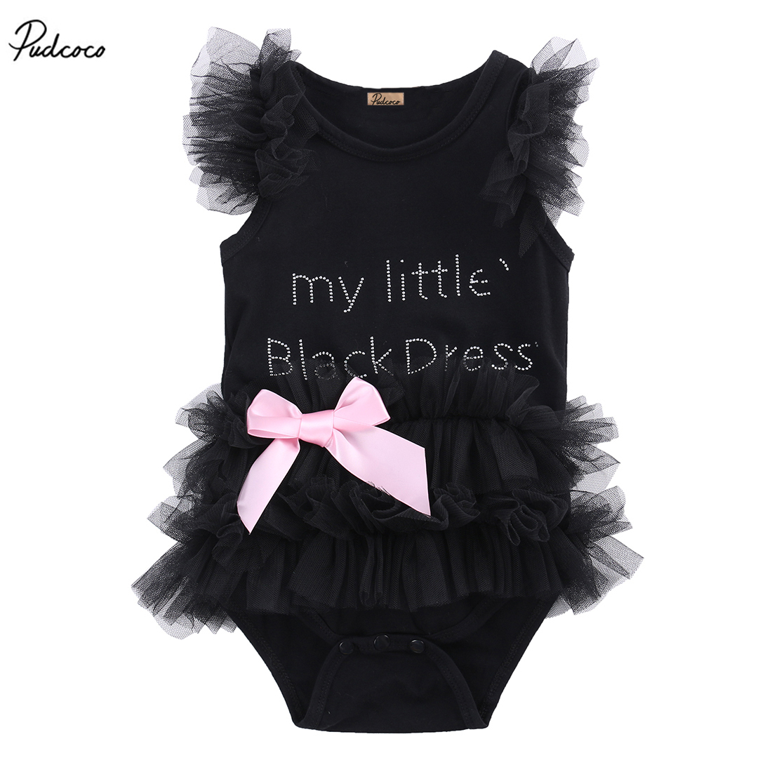 MY LITTER BLACK DRESS Baby Girls Clothes Lace Sleeveless   Romper   Ruffle Bow tie 2017 New Summer Jumpsuit Outfits One-pieces