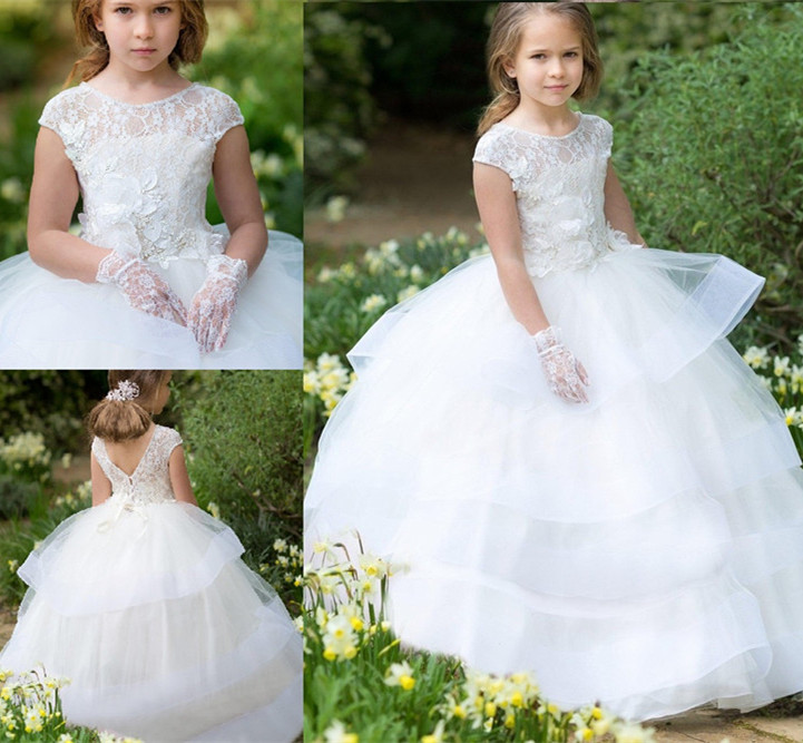 White Lace Flurry Organza Flower Girls Dresses for Wedding Tiered Tulle Cap Sleeves Birthday Dress Pageant Party Gown for GirlsWhite Lace Flurry Organza Flower Girls Dresses for Wedding Tiered Tulle Cap Sleeves Birthday Dress Pageant Party Gown for Girls