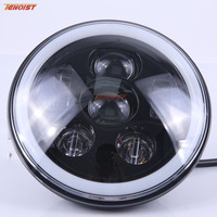 New 7 Inch Black Siver Base 45W With Halo DRL Turing Light For Wrangler JK 07