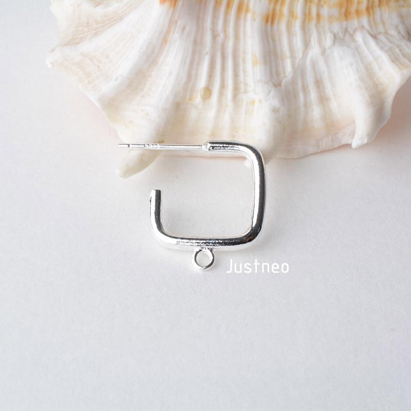 纯银耳针正方形带闭口圈 (1)