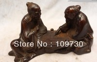 00984 5China Purple Bronze carved eximous Two geezer play chess Statue