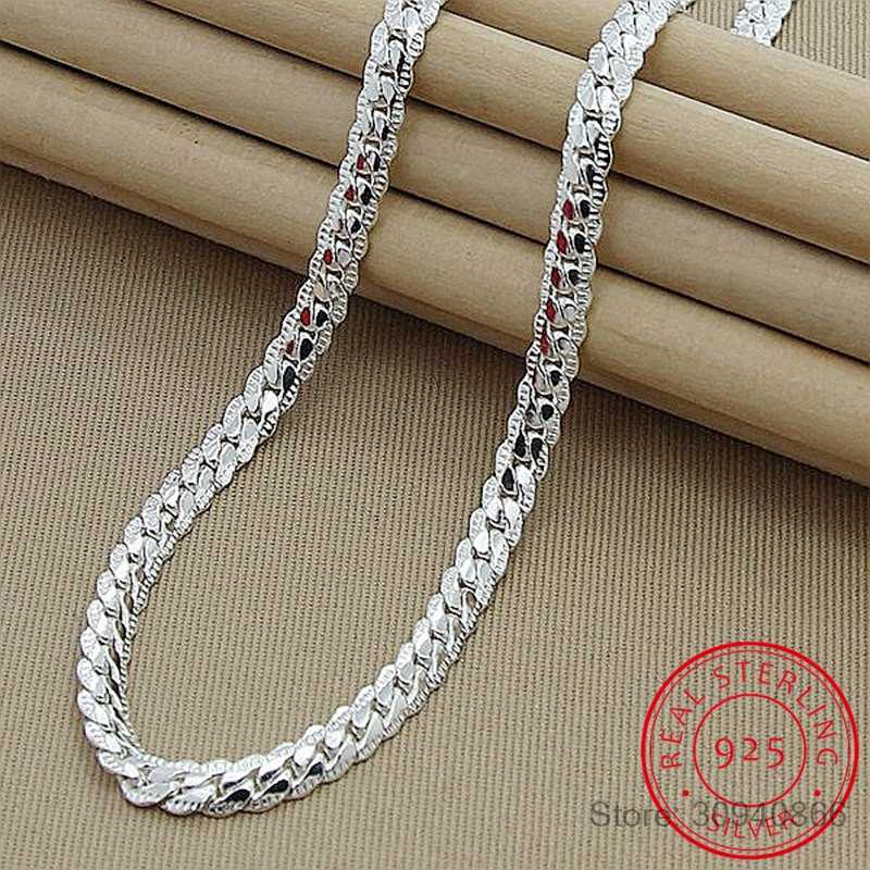 High Quality Brand Fashion 6MM Full Sideways Necklaces Male Female 925 Sterling Silver Fine Jewelry Women Men Silver Necklace