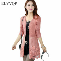 Casual Women Long Sleeve Kimono Cardigan Plus Size Floral Embroidery Cardigans Casaco Feminino 2018 Summer Knitted Sweaters NW42