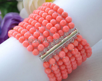 Miss0026 Real 8row 8 6MM round pink coral bead bracelet magnet