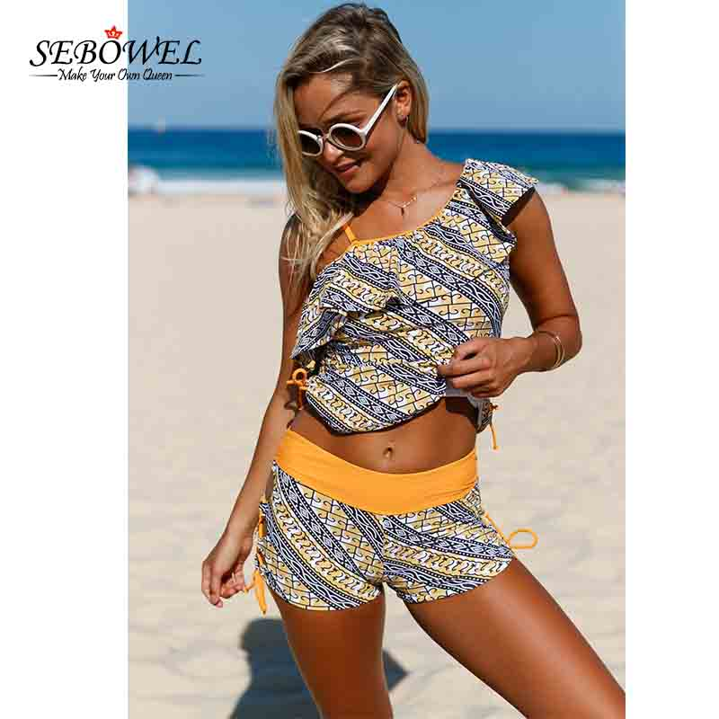 SEBOWEL Sexy Africa Tribal Print Tankini Swimsuit Women 2 pieces Swimwear Tankini & Shorts Ruffle One Shoulder Bathing suit 3XL halter print tankini set