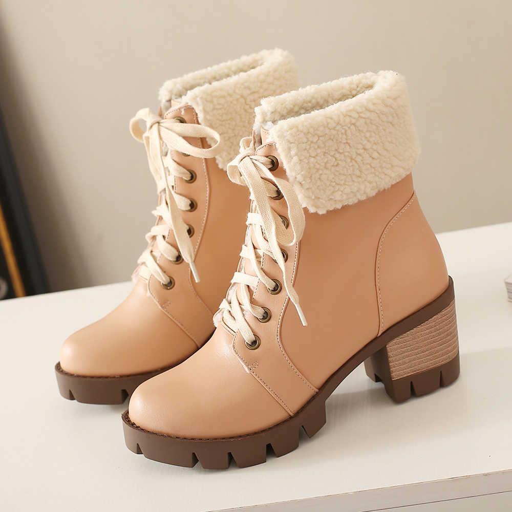 Meotina/женские ботинки зимние ботильоны короткие ботинки на шнуровке на высоком каблуке Женская обувь на плюшевой платформе с квадратным каблуком, большие размеры 33-43