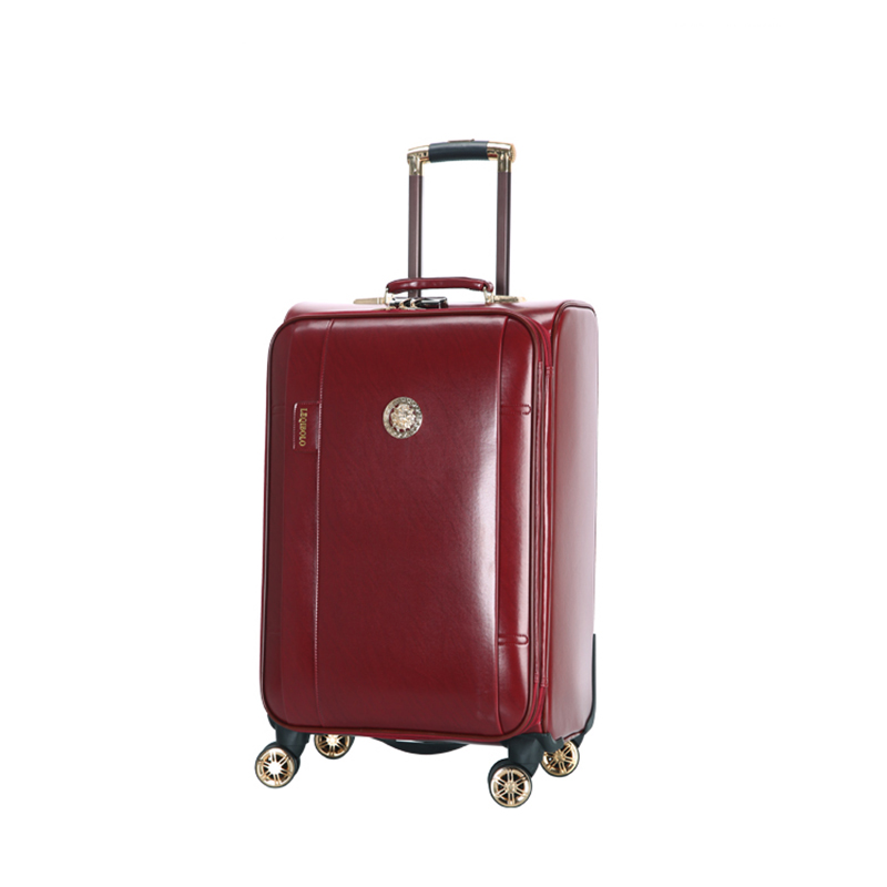 Retro Rolling Luggage Spinner 20 inch Business Cabin Trolley PU Leather Trunk Women Suitcases Wheels Travel Bag цена