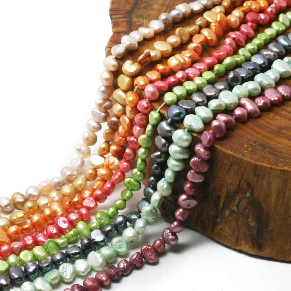35.5cm/lot 6-10mm Multicolor Natural Freshwater Pearl Beads Loose Spacer Beads For Jewelry Making DIY Bracelet Necklace