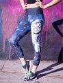 Azul 3D Galaxy Espacio Astronauta Cat Impreso Leggings Mujeres Sportss Leggings 2016 Nuevo Diseño del Punk Rock Del Basculador Jeggings Sexy Legins