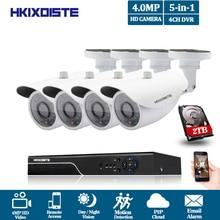 Горячие 4CH супер Full HD 4MP AHD CCTV Камера видеорегистратор Регистраторы Главная Открытый безопасности Камера Системы Комплект 36 шт. наблюдения P2P вид