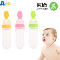 Seguro bebé recién nacido botella de alimentación niño silicona apretón de alimentación cuchara de leche Cereal botella bebé entrenamiento alimentador de alimentos suplemento