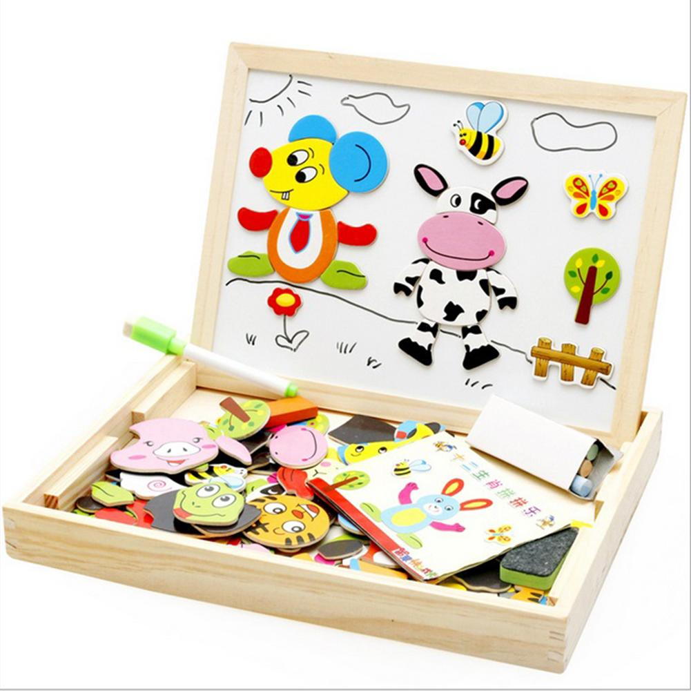 2 in 1 Wooden Double Side Baby Sorting/Nesting/Stacking/Drawing/Writing Board Magnetic Puzzle Game Educational Toys Sets lcll childrens wood puzzle multifunction double sided magnetic drawing board puzzle