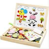 Drewniane Rysunek Zabawki Dzieciak Pisanie Pokładzie Puzzle Magnetyczne Podwójne Sztalugi Szkicownik Prezent Dzieci Inteligencja Edukacyjne Rozwoju