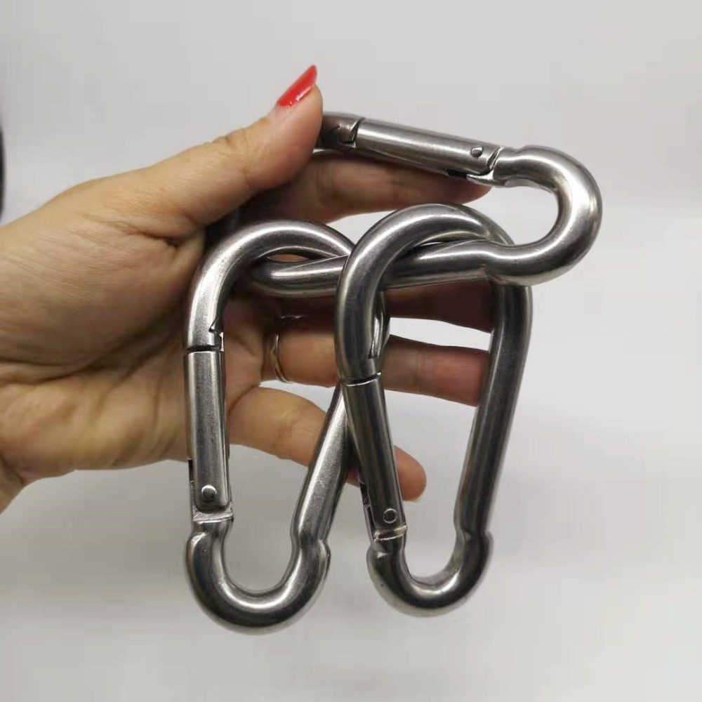 1pcs M10 Stainless Steel 304 Carabiner Carbine Snap Hook Key-Lock 304