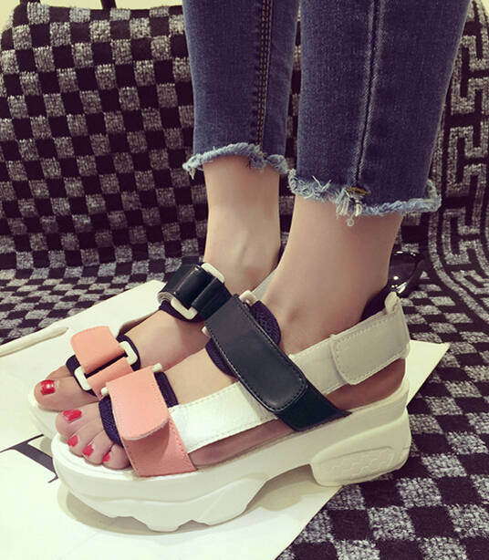 588aa4303dd7 Velcro 2015 summer wedges sandals platform shoes student shoes women s  sports sandals