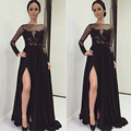New Arrival Vestido De Festa 2016 Boat Neck Black A-Line Long Evening Dress Customerized Party Decent Prom Dresses BE1752