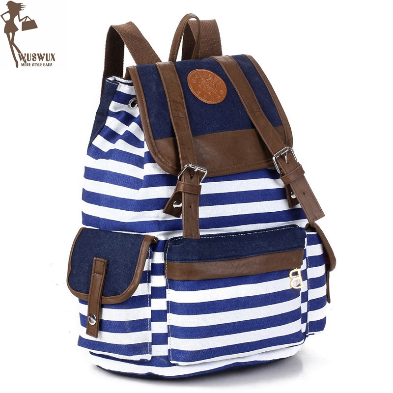 Women Backpack New Fashion Stripe Canvas Backpacks Preppy Style Large Capacity Casual Travel Backpack For Ladies Good Quality