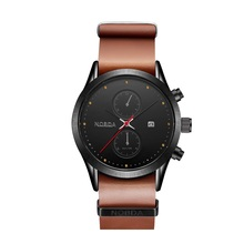 Nobda 6008 marca superior de lujo hombres reloj de cuarzo de cuero genuino deportes Reloj de los hombres 2017 Ips Hombres Muñeca Militar Reloj de Moda reloj